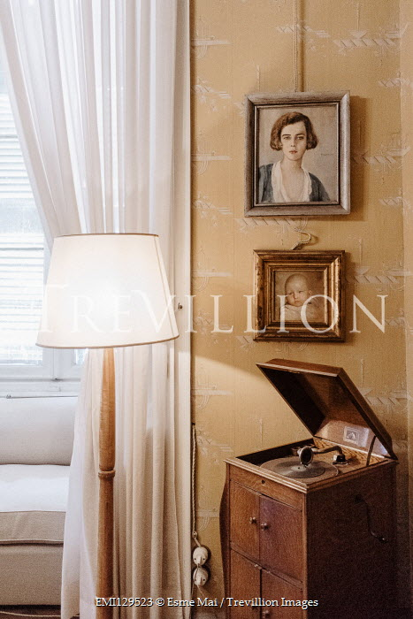 Esme Mai GRAMOPHONE PLAYER WITH PAINTINGS IN HOUSE Interiors/Rooms
