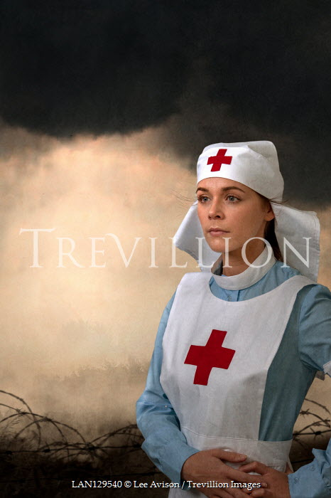 Lee Avison HISTORICAL NURSE IN FIELD WITH BARBED WIRE Women