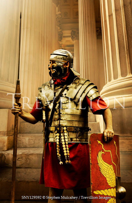 Stephen Mulcahey ROMAN SOLDIER WITH SPEAR OUTSIDE GRAND BUILDING Men