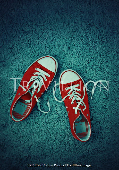 Lyn Randle RED SNEAKERS ON BLUE RUG Miscellaneous Objects