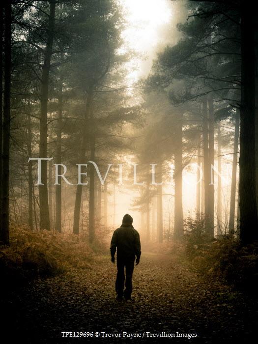Trevor Payne HOODED MAN WALKING IN FOREST Men