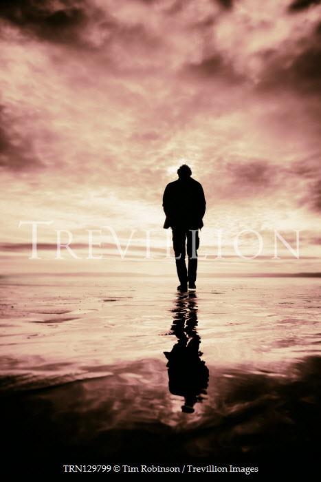 Tim Robinson SILHOUETTED MAN WALKING ON BEACH AT SUNSET Men