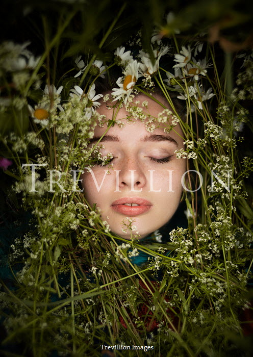 Alexandra Bochkareva GIRL WITH CLOSED EYES COVERED WITH FLOWERS Women