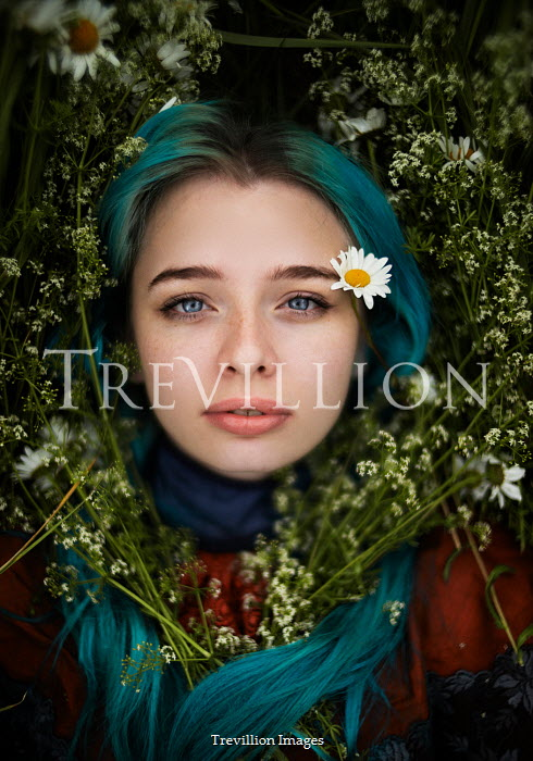 Alexandra Bochkareva GIRL WITH BLUE HAIR COVERED WITH FLOWERS Women