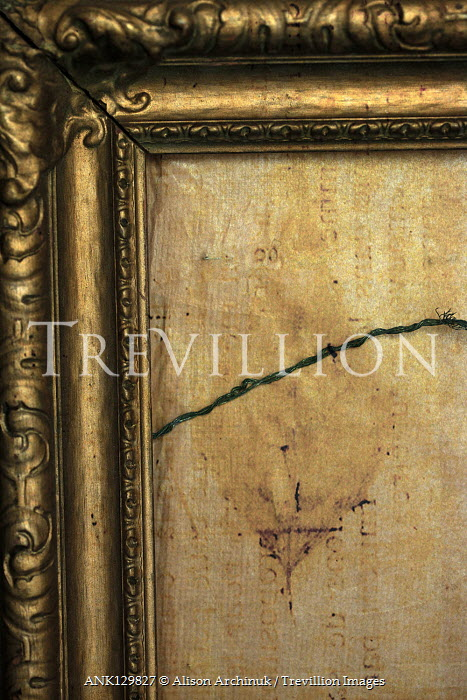 Alison Archinuk EMPTY GOLD PICTURE FRAME WITH WIRE Miscellaneous Objects