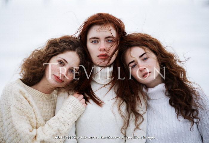 Alexandra Bochkareva THREE BRUNETTE GIRLS IN SWEATERS OUTDOORS Groups/Crowds