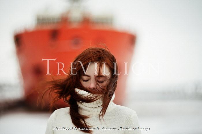 Alexandra Bochkareva GIRL IN WHITE SWEATER OUTDOORS BY BOAT Women