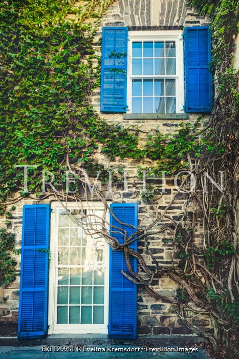 Evelina Kremsdorf STONE HOUSE WITH BLUE SHUTTERS Houses