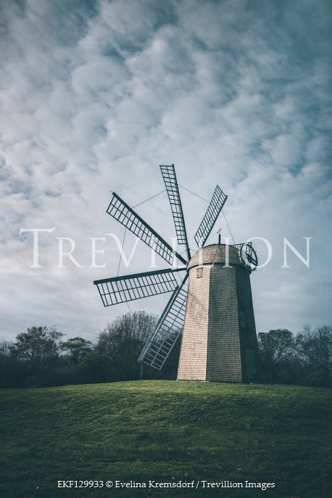 Evelina Kremsdorf WINDMILL IN FIELD WITH TREES AND SKY Miscellaneous Buildings