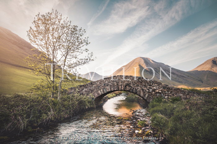 Evelina Kremsdorf STONE BRIDGE OVER RIVER WITH MOUNTAINS Bridges