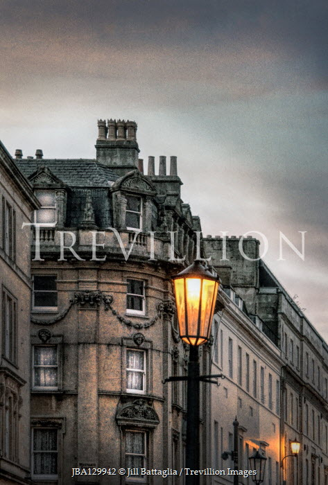 Jill Battaglia BUILDINGS AND LAMPPOST IN CITY AT DUSK Specific Cities/Towns