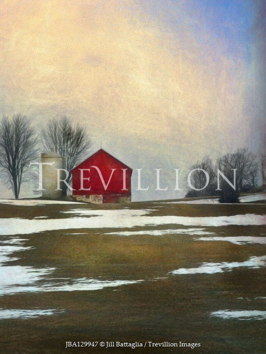 Jill Battaglia RED BARN AND TREES WITH SNOW Houses