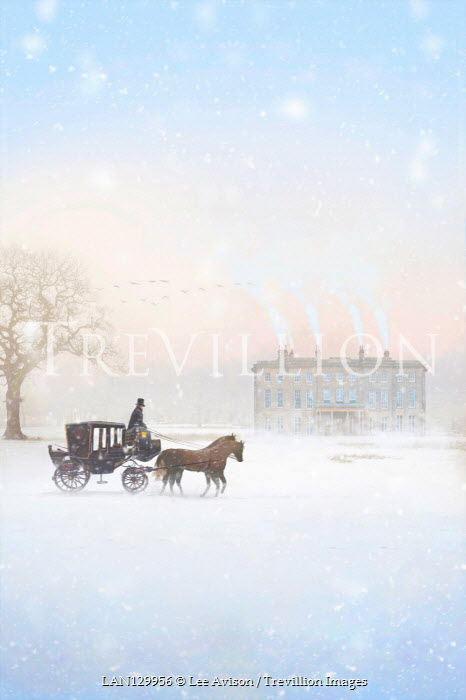 Lee Avison MAN WITH HORSE AND CARRIAGE BY HOUSE IN SNOW Men