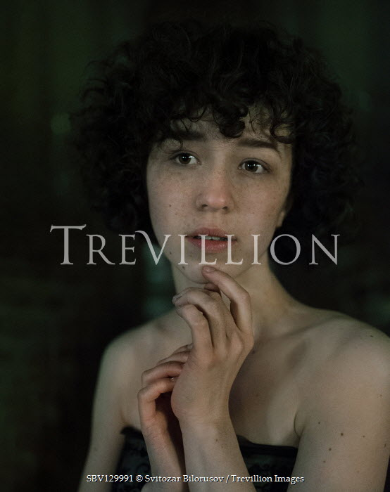 Svitozar Bilorusov SERIOUS GIRL WITH SHORT CURLY HAIR AND BARE SHOULDERS Women