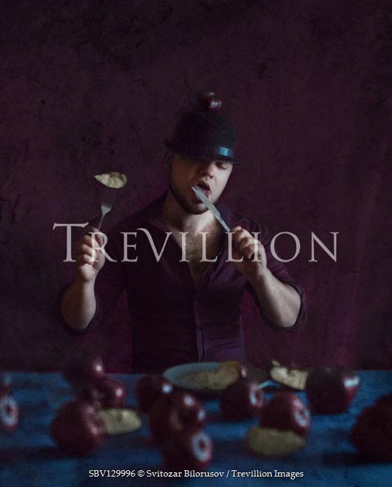 Svitozar Bilorusov MAN IN HAT EATING APPLES WITH CUTLERY Women