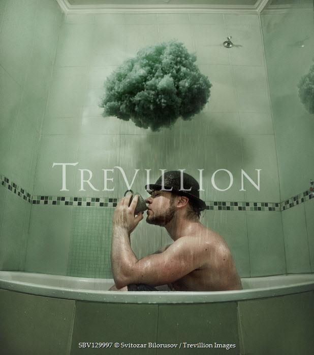 Svitozar Bilorusov MAN DRINKING IN BATH WITH RAINCLOUD Men