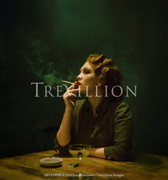 Svitozar Bilorusov RETRO WOMAN SITTING SMOKING AND DRINKING Women