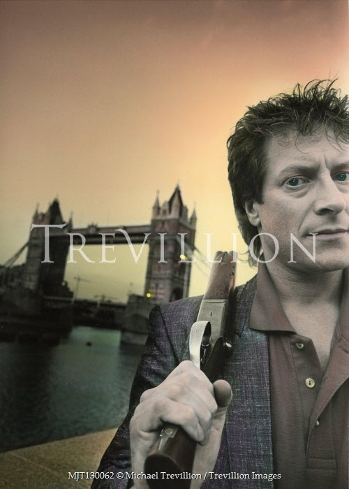 Michael Trevillion MAN WITH RIFLE BY RIVER AND TOWER BRIDGE Men