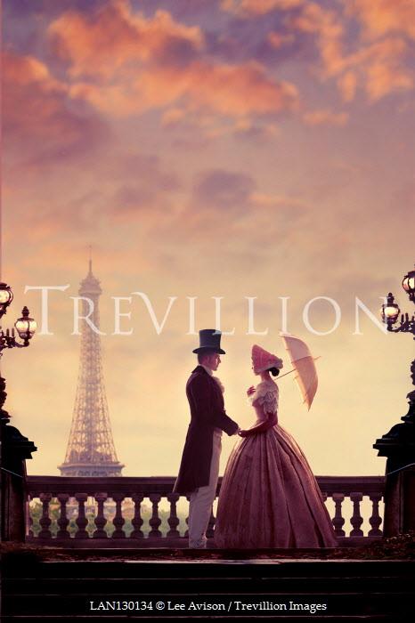 Lee Avison Victorian couple in Paris with eiffel tower at twilight
