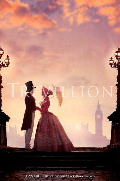 Lee Avison victorian couple in London at sunset