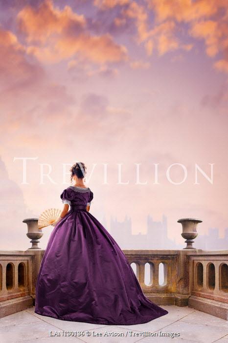 Lee Avison anonymous victorian woman on a balcony wearing a purple dress