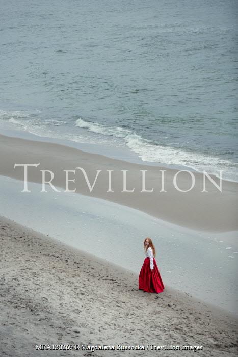 Magdalena Russocka historical woman walking on beach