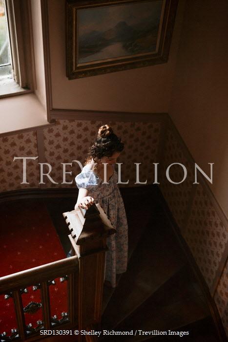 Shelley Richmond BRUNETTE REGENCY WOMAN STANDING ON STAIRCASE Women