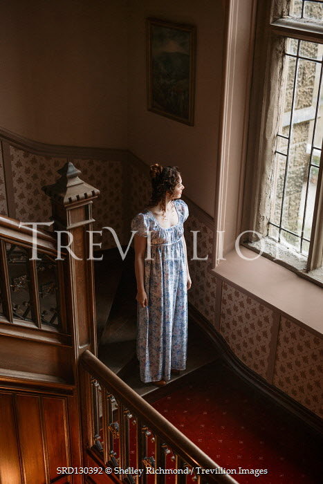 Shelley Richmond REGENCY WOMAN ON STAIRCASE WATCHING WINDOW Women