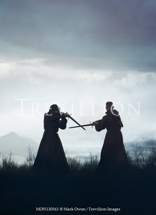 Mark Owen Monks fighting with swords