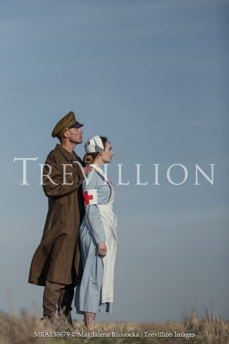 Magdalena Russocka Soldier and nurse standing in field