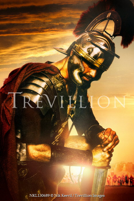 Nik Keevil Roman centurion on battlefield