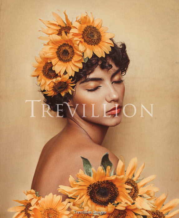 Eve North BRUNETTE WOMAN COVERED WITH SUNFLOWERS Women