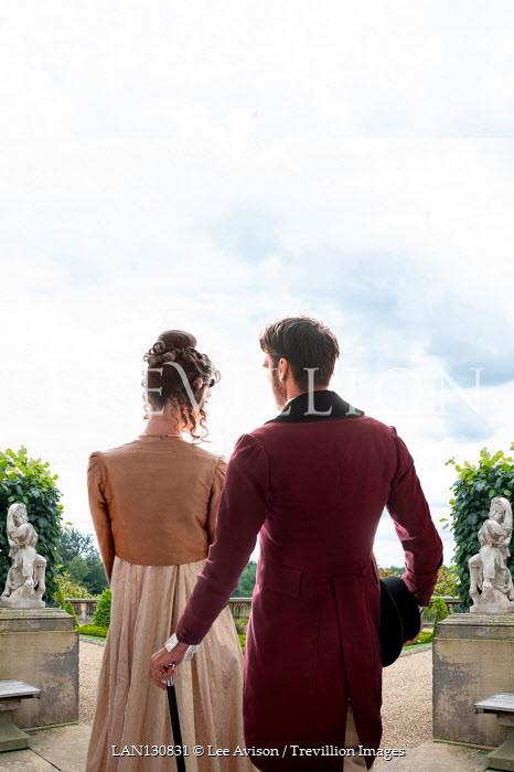 Lee Avison REGENCY COUPLE IN GRAND GARDEN WITH STATUES Couples