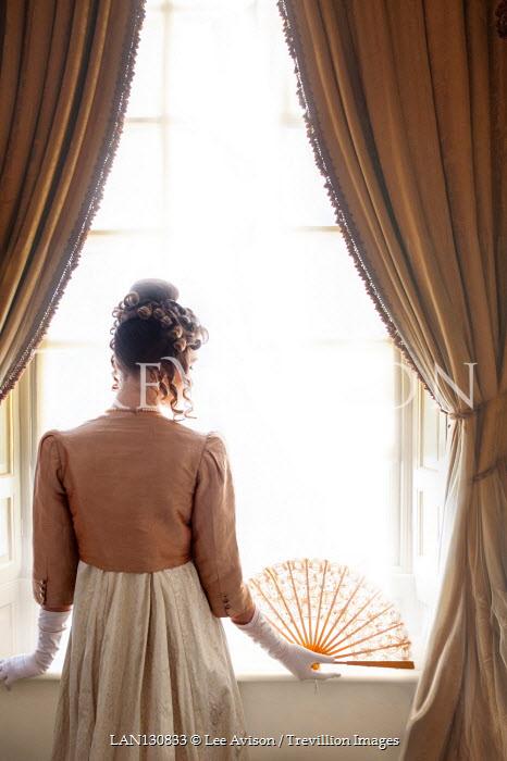 Lee Avison REGENCY WOMAN WITH FAN WATCHING AT WINDOW Women