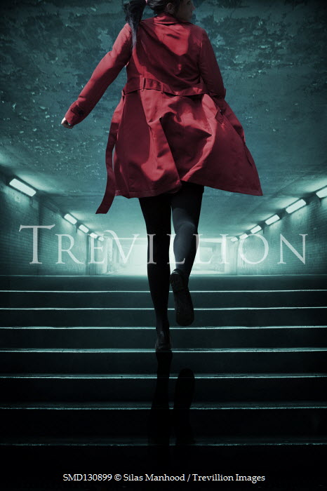 Silas Manhood WOMAN IN RED COAT RUNNING UP SUBWAY STEPS Women