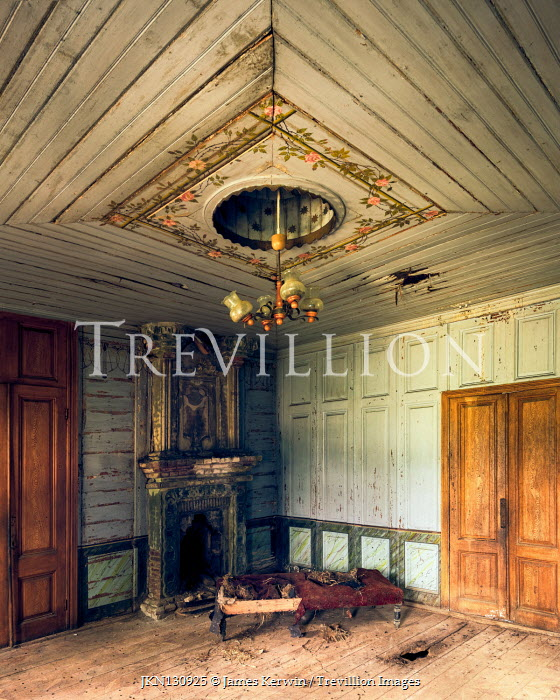 James Kerwin INTERIOR OF ABANDONED HOUSE WITH FIREPLACE Interiors/Rooms