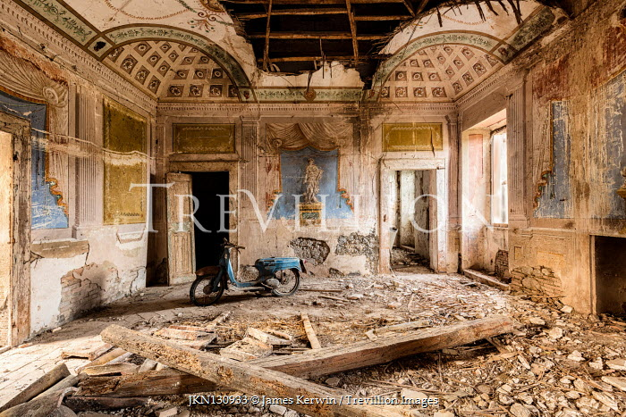 James Kerwin RETRO MOTORBIKE IN DERELICT PALACE Interiors/Rooms