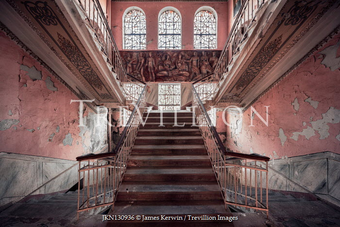 James Kerwin INTERIOR WITH STAIRCASES IN DERELICT PALACE Interiors/Rooms