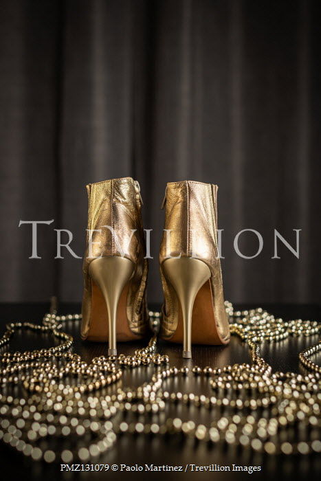 Paolo Martinez Gold high heels and necklace