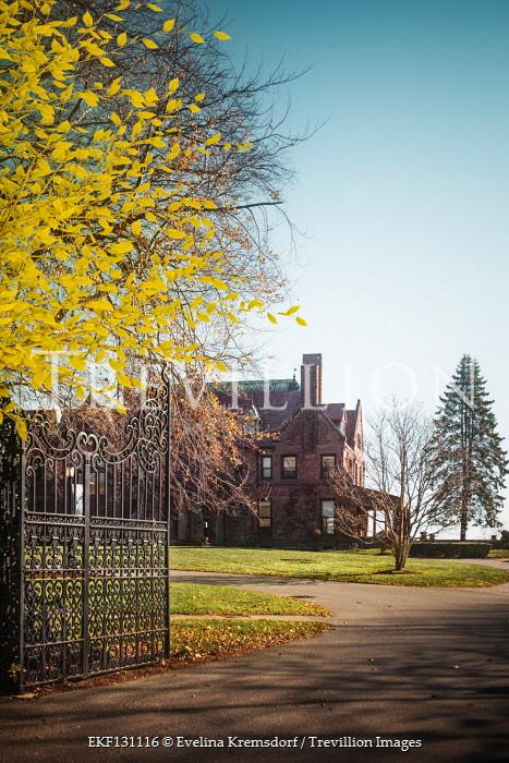 Evelina Kremsdorf Autumn tree and gate to mansion