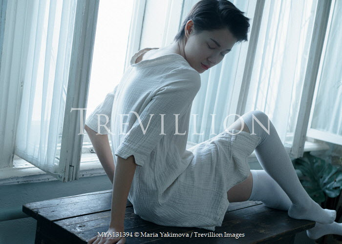 Maria Yakimova ASIAN GIRL IN WHITE SITTING BY WINDOW Women