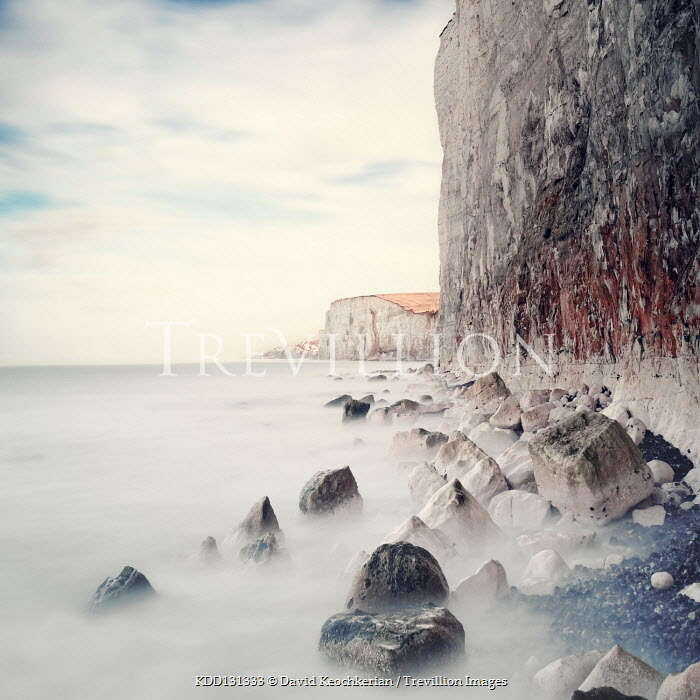 David Keochkerian CHALK CLIFFS AND BOULDERS WITH MISTY SEA Seascapes/Beaches