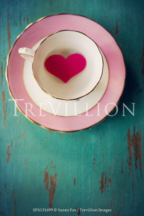 Susan Fox Tea cup with pink heart