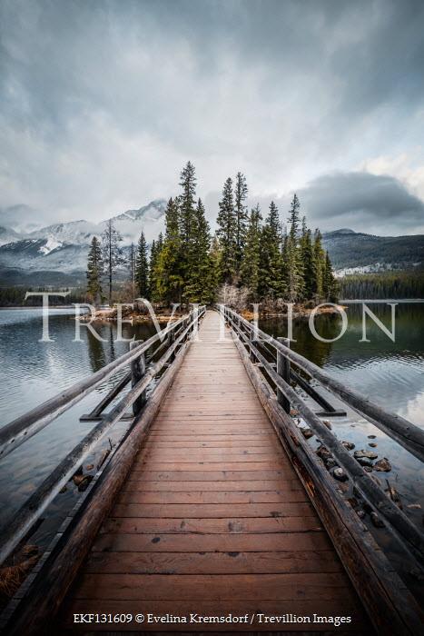 Evelina Kremsdorf Bridge on Pyramid Lake in Jasper National Park, Alberta, Canada