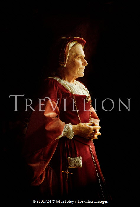 John Foley ELDERLY TUDOR WOMAN IN RED GOWN Old People