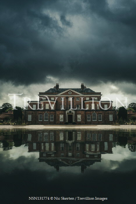 Nic Skerten GRAND HOUSE BY LAKE WITH STORMY SKY Houses