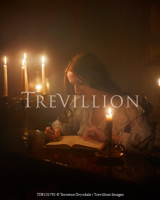 Terrence Drysdale HISTORICAL WOMAN WRITING BY CANDLELIGHT Women