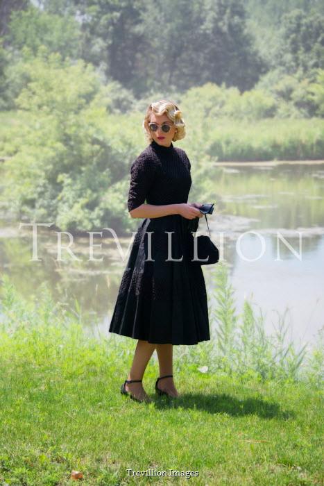 Elisabeth Ansley 1950S WOMAN BY LAKE IN SUMMER Women