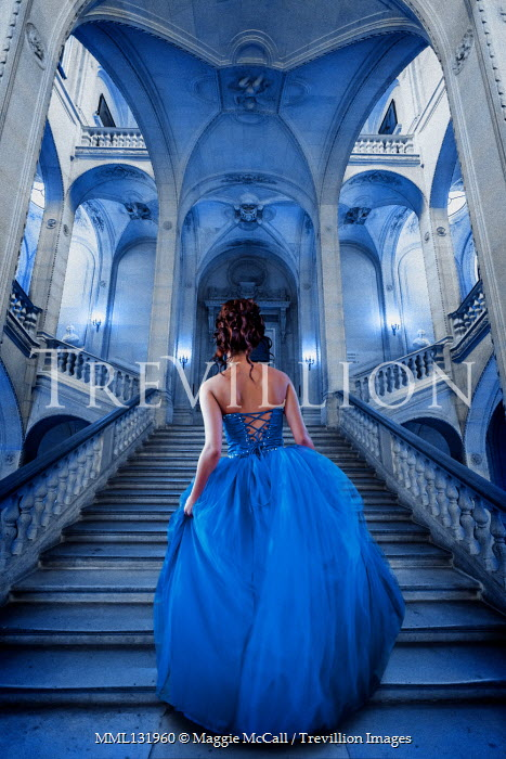 Maggie McCall WOMAN IN BLUE GOWN ON GRAND STAIRCASE Women