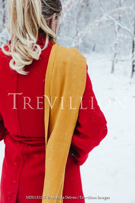 Matilda Delves BLONDE WOMAN IN RED COAT WITH SNOWY COUNTRYSIDE Women